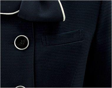 en joie(アンジョア) 26600 [春夏用]フェミニンな印象のリボン襟のオーバーブラウス ポケット