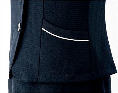 en joie(アンジョア) 26600 [春夏用]フェミニンな印象のリボン襟のオーバーブラウス すっきりしたポケット