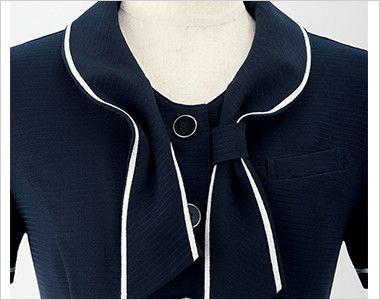 en joie(アンジョア) 26605 [春夏用]シャープな印象のタイ付きカラーで大人な雰囲気のオーバーブラウス ループに通すだけだから簡単おしゃれ