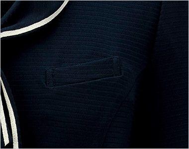 en joie(アンジョア) 26605 [春夏用]タイ付きカラーのオーバーブラウス ボーダー[ストレッチ] ポケット