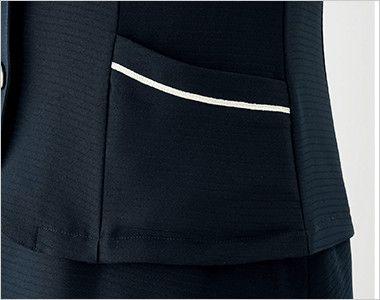 en joie(アンジョア) 26605 [春夏用]タイ付きカラーのオーバーブラウス ボーダー[ストレッチ] すっきりしたポケット