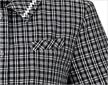 en joie(アンジョア) 2950 [春夏用]やさしさ漂うツートンチェックのオーバーブラウス ネームプレートとペンなどを区分け収納できる名札ポケットと左胸ポケット