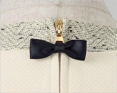 en joie(アンジョア) 41690 [通年]クリニックで人気!着丈が長く安心の着心地!プルオーバー 無地 かわいいリボンデザインのファスナーチャーム。デザイン性だけでなく、掴みやすさも兼ね備えています。