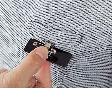 en joie(アンジョア) 46410 [春夏用]夏らしいボーダー柄の後ろあきプルオーバートップス 胸ポケットにペンをさしても名札が邪魔にならない実用性のたかい名札ポケット