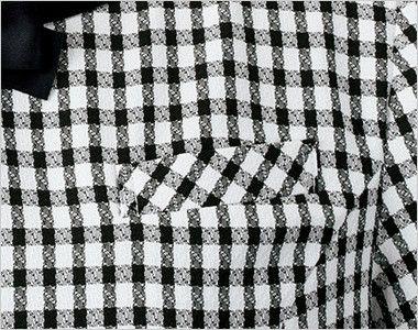 en joie(アンジョア) 46450 着脱がらくらくなチェック柄のプルオーバーブラウス(ブローチ付) 胸ポケットにペンをさしても名札が邪魔にならない実用性のたかい名札ポケット