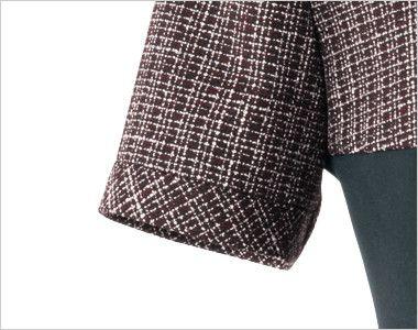 en joie(アンジョア) 61430 [通年]1枚でも絵になるノーブルな上質ワンピース(女性用) ツイード×無地 切り返しの袖口