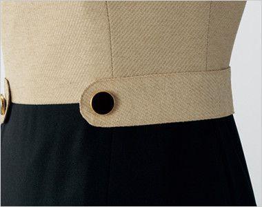 en joie(アンジョア) 61520 [通年]大人かわいいラウンドネックの上品なベージュワンピース(女性用) 無地 ボタンとベルトのような両脇のデザインがアクセント