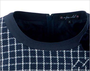 en joie(アンジョア) 61630 [通年]医療事務に人気!癒し系の七分袖ワンピース(女性用)(ブローチ付) チェック 黒パイピングで引き締まった襟元