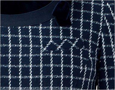 en joie(アンジョア) 61630 [通年]医療事務に人気!癒し系の七分袖ワンピース(女性用)(ブローチ付) チェック ネームプレートとペンを区分け収納できる名札ポケットと左胸ポケット
