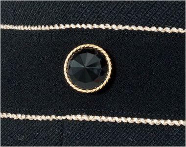 en joie(アンジョア) 61650 [通年]シルエットが美しくゴールドがアクセントのワンピース(女性用) 無地×ラメ ゴールド縁のダイヤのようなきれいな黒ボタン