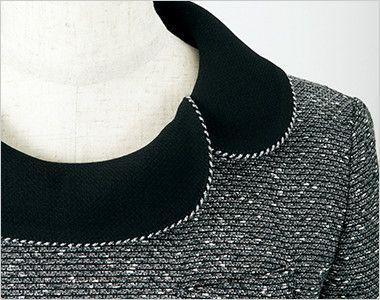 en joie(アンジョア) 61680 [通年]優しい雰囲気のネックラインで大人可愛い七分袖ワンピース(女性用) ツイード×無地 エレガントで華やかさを添えるシルバーのラメテープ