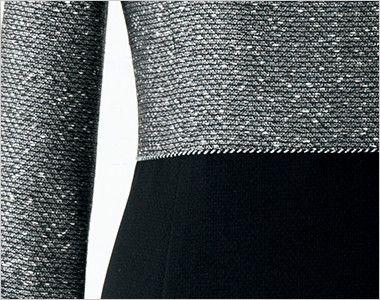 en joie(アンジョア) 61680 [通年]優しい雰囲気のネックラインで大人可愛い七分袖ワンピース(女性用) ツイード×無地 ツイードの上半身部分と黒無地をシルバーのラメテープで切り替えたデザイン