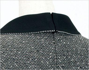 en joie(アンジョア) 61680 [通年]優しい雰囲気のネックラインで大人可愛い七分袖ワンピース(女性用) ツイード×無地 背中ファスナーだから着脱がかんたん