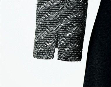 en joie(アンジョア) 61680 [通年]優しい雰囲気のネックラインで大人可愛い七分袖ワンピース(女性用) ツイード×無地 スリットのある袖だから窮屈になりづらい