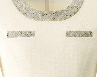 en joie(アンジョア) 61690 [通年]ふんわり柔らかでハイウエストの切替で美脚効果のワンピース/七分袖(女性用) 無地 おしゃれでいながら機能的なポケット