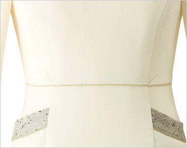 en joie(アンジョア) 61690 [通年]ふんわり柔らかでハイウエストの切替で美脚効果のワンピース/七分袖(女性用) 無地 ゴールドのラメテープで腰高効果でシルエットがきれいに