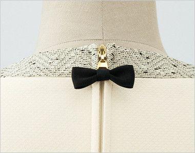 en joie(アンジョア) 61690 [通年]ふんわり柔らかでハイウエストの切替で美脚効果のワンピース/七分袖(女性用) 無地 背中ファスナーは黒いリボンで大人かわいく