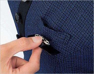 en joie(アンジョア) 61730 [通年]大人可愛いシルエットで魅せるブルーツイードのAラインワンピース(女性用) ネームプレートとペンなどを区分け収納できる名札ポケットと左胸ポケット