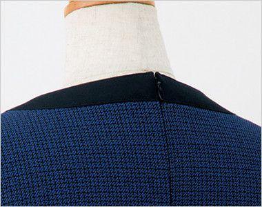 en joie(アンジョア) 61730 [通年]大人可愛いシルエットで魅せるブルーツイードのAラインワンピース(女性用) 着脱がらくらくな背中ファスナー