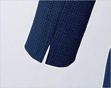 en joie(アンジョア) 61730 [通年]大人可愛いシルエットで魅せるブルーツイードのAラインワンピース(女性用) スリットのある袖だから窮屈になりづらい