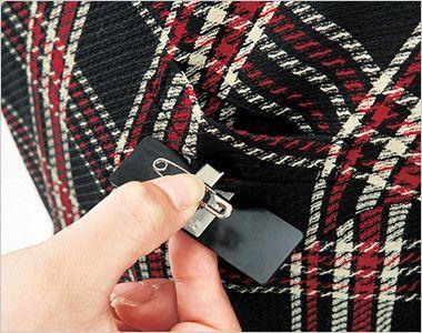 en joie(アンジョア) 61790 [通年]エレガントな美しいラインが際立つ上質ワンピース(女性用) チェック ネームプレートとペンなどを区分け収納できる名札ポケットと左胸ポケット