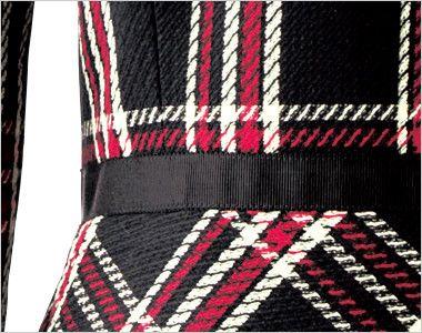 en joie(アンジョア) 61790 [通年]エレガントな美しいラインが際立つ上質ワンピース(女性用) チェック 腰高シルエットに見せる黒いリボンテープ