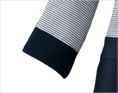 en joie(アンジョア) 66410 [春夏用]ボーダー×ネイビーが清楚な七分袖ワンピース(女性用) ネイビーで切り替えたデザイン