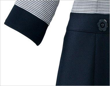 en joie(アンジョア) 66410 [春夏用]ボーダー×ネイビーが清楚な七分袖ワンピース(女性用) スマホなどが収納できるポケット