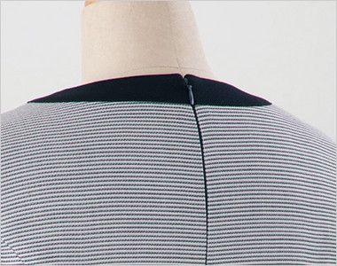 en joie(アンジョア) 66410 [春夏用]ボーダー×ネイビーが清楚な七分袖ワンピース(女性用) 着脱がらくらく背中ファスナー