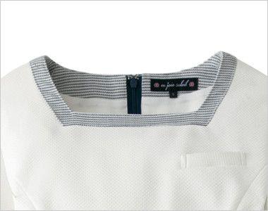 en joie(アンジョア) 66420 [春夏用]ストレッチ×防シワで清潔感のあるニットワンピース(女性用) 無地 太めの紺色ボーダーのパイピングで小顔効果のある襟元