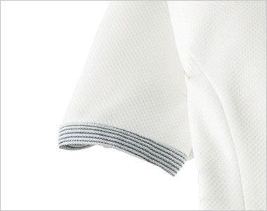 en joie(アンジョア) 66420 [春夏用]ストレッチ×防シワで清潔感のあるニットワンピース(女性用) 無地 ボーダー柄のかわいい半袖の袖口
