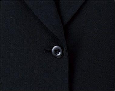 en joie(アンジョア) 81370 軽さと伸縮性があり凹凸感が上品なストレッチジャケット 無地 シンプルな黒いボタン