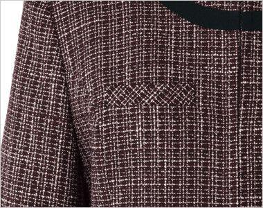 en joie(アンジョア) 81430 [秋冬用]リッチ感あふれるノーカラーがツイードで大人の雰囲気漂うジャケット 目立ちませんがポケットがあります