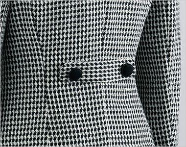 en joie(アンジョア) 81460 [通年]柔らかい印象のツイード調千鳥チェック柄ジャケット アクセントのボタン使いでスタイルアップされた背ベルト付き
