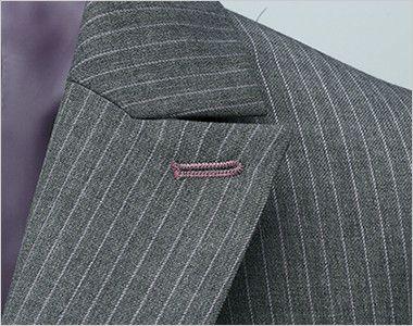 [在庫限り/返品交換不可]en joie(アンジョア) 81490 すらりと細めシルエットのストライプ柄ジャケット パープルの刺繍が上品なフラワーホール