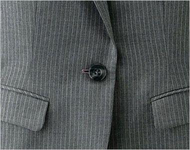 [在庫限り/返品交換不可]en joie(アンジョア) 81490 すらりと細めシルエットのストライプ柄ジャケット シンプルな黒いボタン