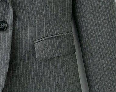 [在庫限り/返品交換不可]en joie(アンジョア) 81490 すらりと細めシルエットのストライプ柄ジャケット おしゃれモードなスタイルのフラップポケット