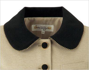 en joie(アンジョア) 81520 [春夏用]上品かわいいベージュ×黒の配色の好印象ジャケット 無地 ラウンドの大きな襟がアクセントに