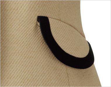 en joie(アンジョア) 81520 [春夏用]上品かわいいベージュ×黒の配色の好印象ジャケット 無地 丸くて可愛いフラップポケット