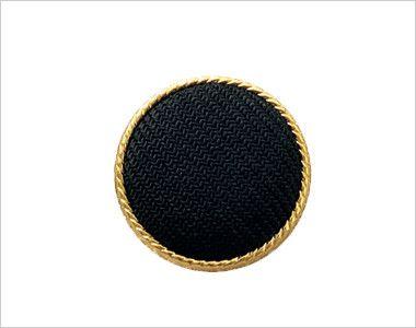 en joie(アンジョア) 81520 [春夏用]上品かわいいベージュ×黒の配色の好印象ジャケット 無地 黒ベースにまわりをゴールドであしらったボタン