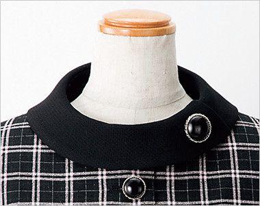en joie(アンジョア) 81610 [通年]明るいチェックを襟やポケットのブラックでひきしめたジャケット チェック 大きめボタンとロールカラーで上品な印象に