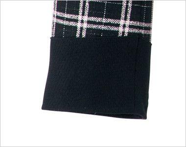en joie(アンジョア) 81610 [通年]明るいチェックを襟やポケットのブラックでひきしめたジャケット チェック 全身チェック柄なので袖口はブラックで落ち着いた印象に