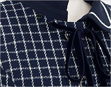 en joie(アンジョア) 81630 [秋冬用]まるいデザイン襟とフラップポケットがかわいいジャケット(リボン付) チェック ベルベット素材のリボンは取外しできます