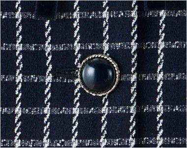 en joie(アンジョア) 81630 [秋冬用]まるいデザイン襟とフラップポケットがかわいいジャケット(リボン付) チェック シルバー縁で丸みのある立体的な黒ボタン