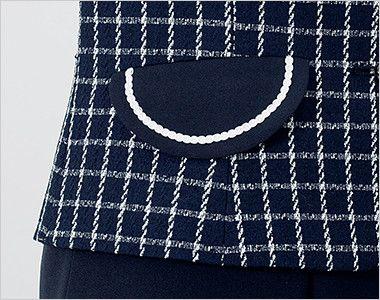 en joie(アンジョア) 81630 [秋冬用]まるいデザイン襟とフラップポケットがかわいいジャケット(リボン付) チェック フラップポケットにもデザインアクセントのパイピングでかわいい