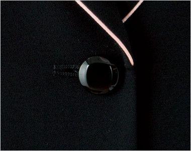 en joie(アンジョア) 81640 [秋冬用]丸い襟とフラップポケットがキュートなストレッチジャケット 無地 光沢のある黒ボタン