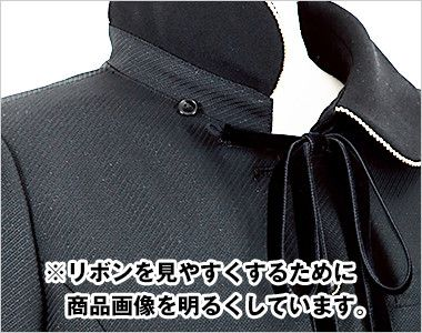 en joie(アンジョア) 81650 [秋冬用]上質感あふれるディテールで品格あるジャケット(リボン付き) 無地 襟下のベルベットリボンは取外しできます