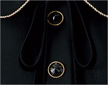 en joie(アンジョア) 81650 [秋冬用]上質感あふれるディテールで品格あるジャケット(リボン付き) 無地 ゴールド縁のきらきら輝くダイヤのような黒ボタン