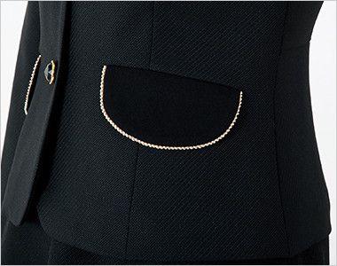 en joie(アンジョア) 81650 [秋冬用]上質感あふれるディテールで品格あるジャケット(リボン付き) 無地 金色のラメテープで上品なフラップポケット