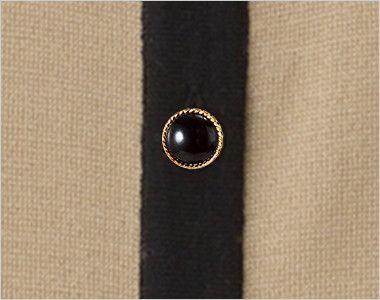 en joie(アンジョア) 81670 [秋冬用]優しい見た目できちんと感のあるニットジャケット 無地 ゴールド縁のブラックダイヤモンドのようなボタン